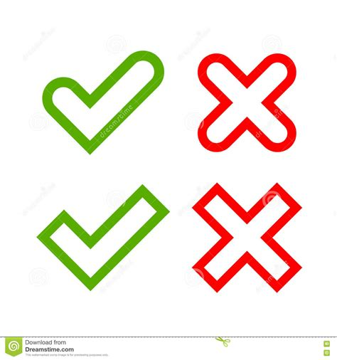 free x tick and cross signs simple stock vector image 79644457