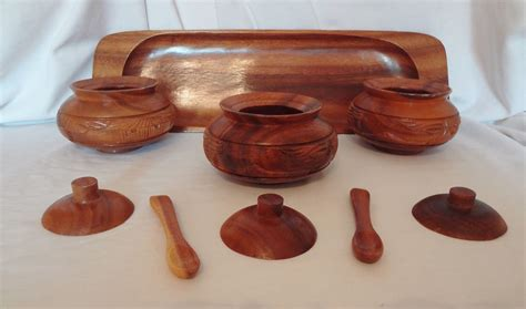 Honohulu Set 9 alii woods honolulu wood tray condiment bowl spoon set hawaii tiki hut bowls