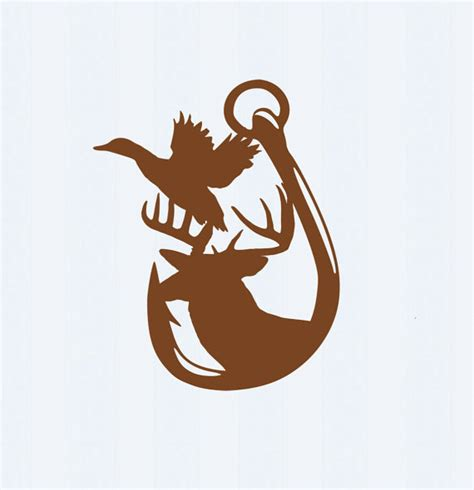 bucks and fishing duck deer and hook in svg eps dxf ai and png by