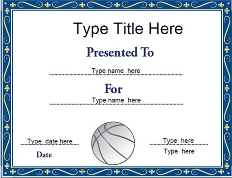 sports certificates netball certificate template
