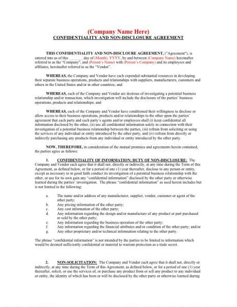 confidentiality and nondisclosure agreement template vendor confidentiality agreements basic confidentiality