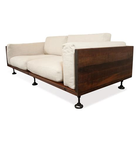 Andrew Industrial Reclaimed Wood Cast Iron Sofa Kathy