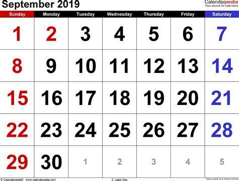 Calendar September 2019 September 2019 Calendars For Word Excel Pdf