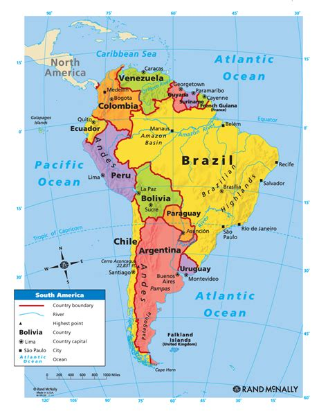 south america physical political map science at school geography 6th grade
