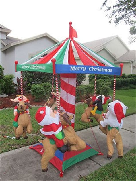 rare gemmy 7 huge santa christmas animated carousel