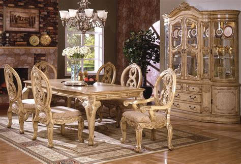 White Wash Dining Table Groups   Formal Wood Dining Room Set in Antique White Wash Finish 6170