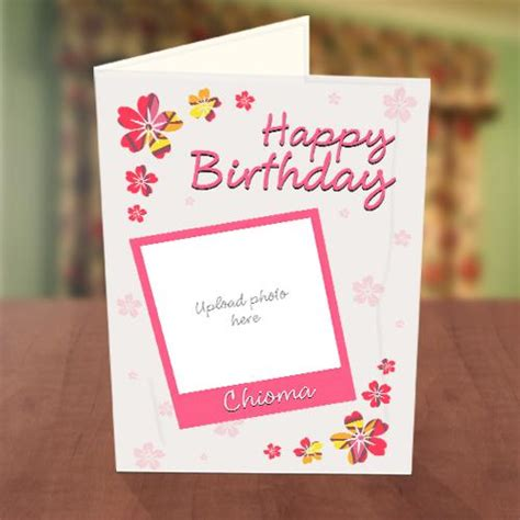 Birthday Card With Photo Upload Pink Petals Birthday Card Greetings World