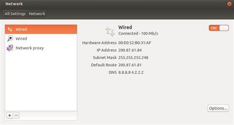 ubuntu manual ethernet configuration ubuntu desktop gnome shell or unity proxy settings