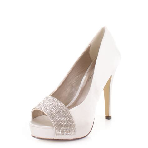 ivory bridal shoes high heel bridal wedding ivory satin diamante peep toe platform high