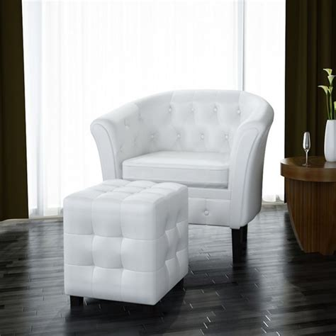 armchair with footrest artificial leather tub chair armchair with footrest white