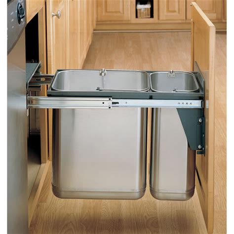 under sink double trash pull out rev a shelf stainless steel sink base pull out waste