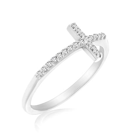 cross motif ring with accents in 14k white gold