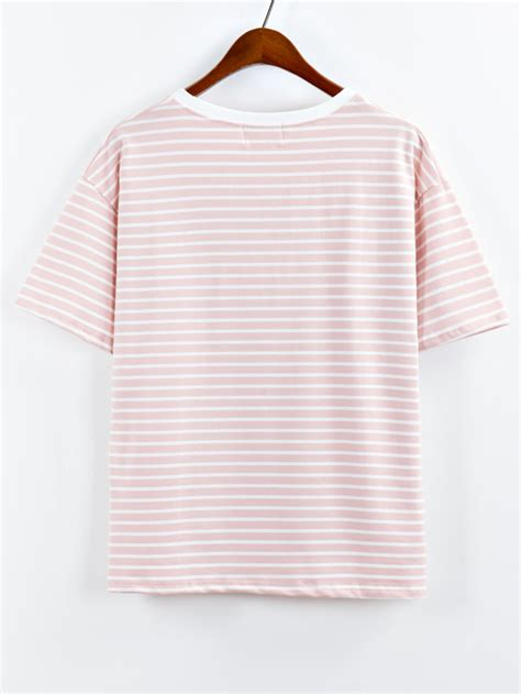 Cactus Stripe Shirt cactus embroidered striped high low t shirt pink shein sheinside