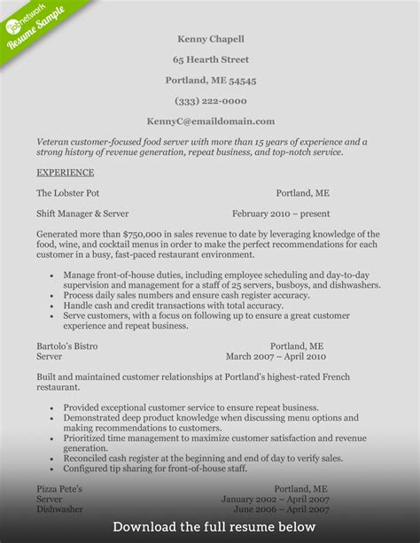 how to write a food service resume exles included