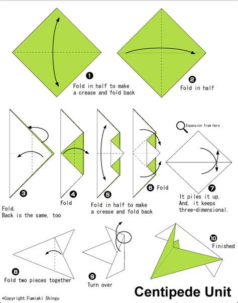 Unit Origami - origami a centipede easy origami