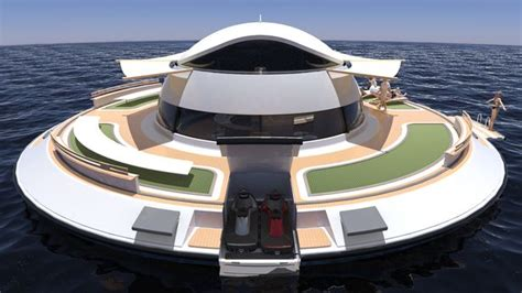 floating boat house ufo the home of the future inside ufo shaped houseboat that