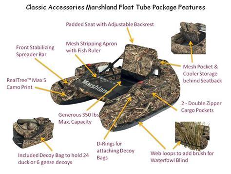 boat accessories tubes classic accessories marshland float tube features best