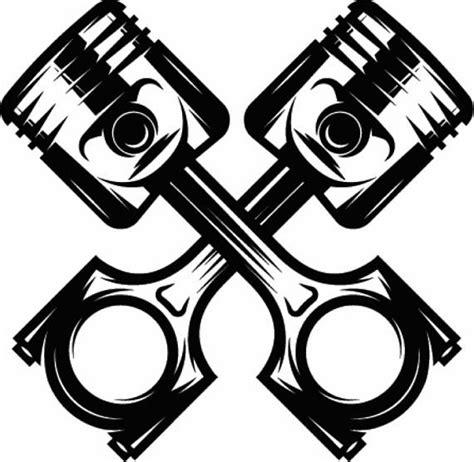 mechanic logo 12 piston crossed cylinder engine auto car part