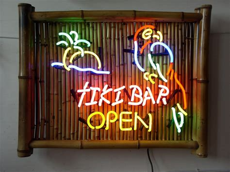 Tiki Bar Pictures Bamboo Tiki Bar Neon Signs With Parrots And Palm Trees 1