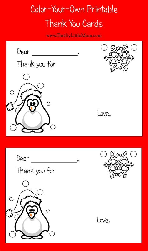 Color Your Own Cards - color your own printable thank you cards for
