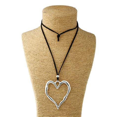 Necklace Suede Clothing Accessories 3 1pcs silver lagenlook large abstract alloy pendant colar suede leather necklace