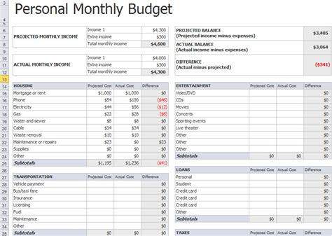 excel monthly budget template calendar monthly printable
