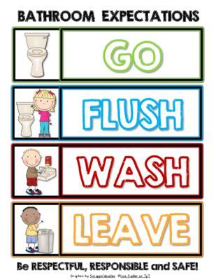 classroom bathroom procedures bathroom expectations go flush wash leave sign