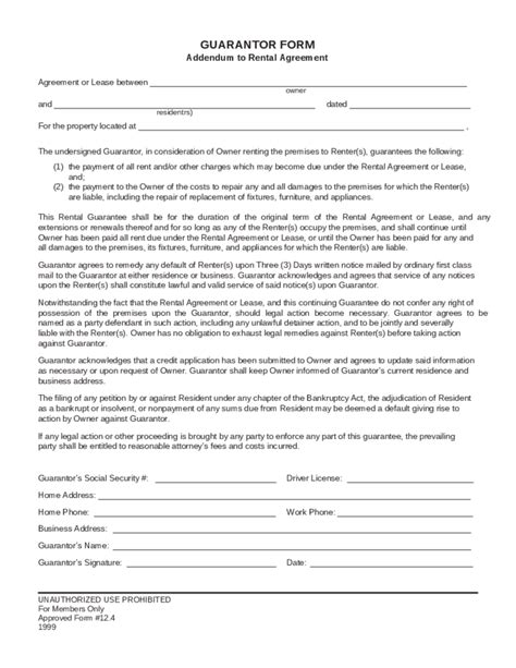 Guarantor Letter Rent Template Guarantor Form Addendum To Rental Agreement Free