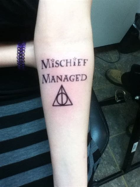 mischief managed tattoo glow in the dark mischief managed my first tattoo by sirigirl92 on deviantart