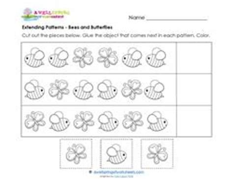 extend patterns worksheets for kindergarten extending patterns bees butterflies a wellspring