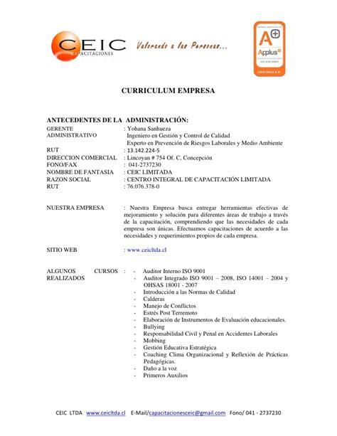 Modelo Curriculum Vitae De Una Empresa Curriculum Empresa Ceic Ltda