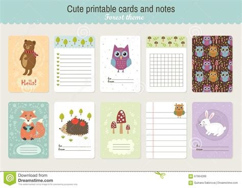 cute printable postcards set of cute printable vector cards and notes stock vector