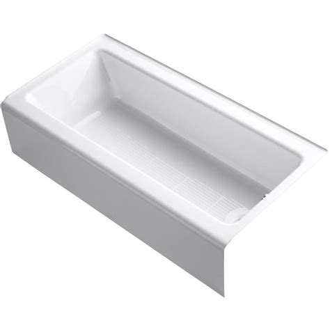 bellwether bathtub shop kohler bellwether 60 in white cast iron alcove bathtub with right hand drain at