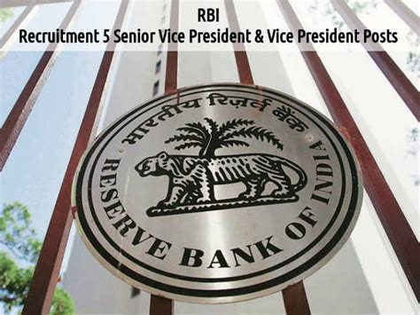Rbi Internship For Mba by Rbi Openings For 5 Senior Vice President And Vice
