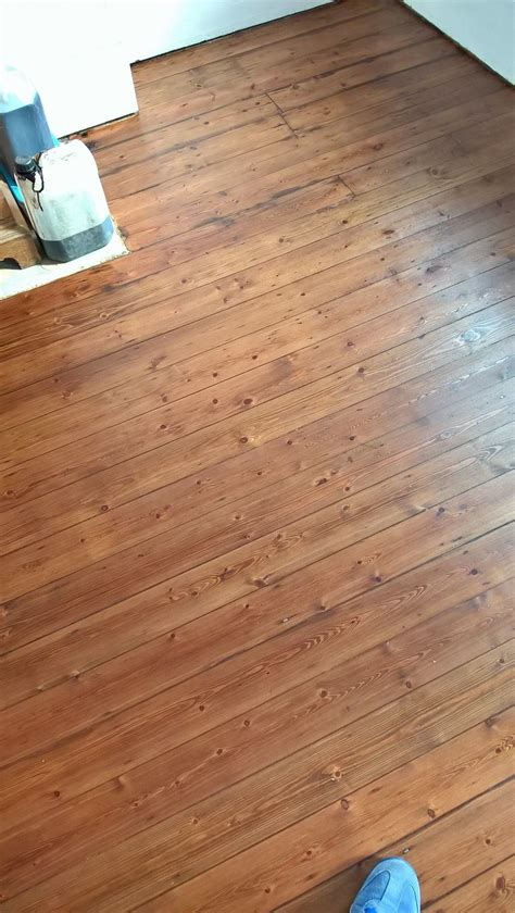 Floor boards stained using Mid Oak stain   Step Flooring