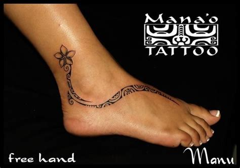 polynesian foot tattoo tattooed pinterest