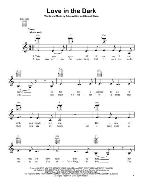 adele love in the dark tablature guitare love in the dark de adele ukulele