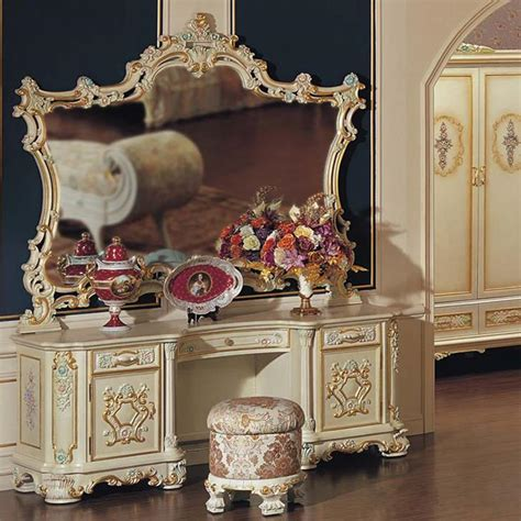 baroque luxury makeup mirror dressing table mirror european classical carved wood dressing table