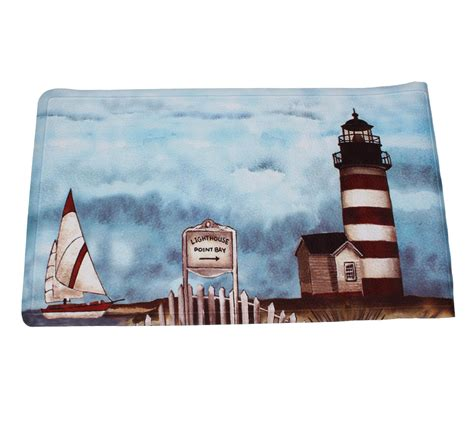Lighthouse Bath Mat by Essential Home Point Bay Lighthouse Fabric Shower Curtain