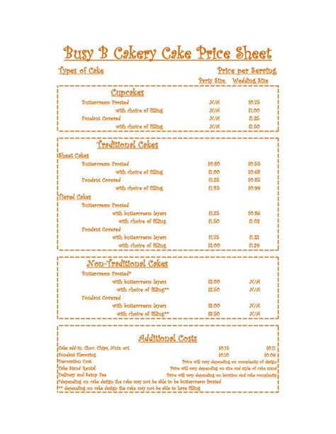 cake price list template 12 for sheet cakes price list photo fondant cake prices