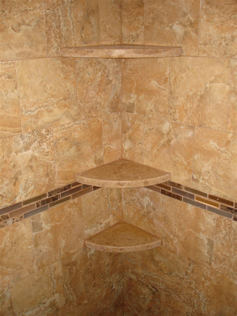 marble shoo shelves in new tile shower new jersey