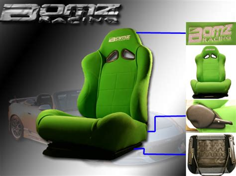 green racing seats bomz racing universal racing seats w slider 2x green