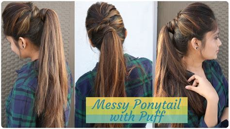 puff hairstyles for party how to messy ponytail with puff hairstyle diy easy