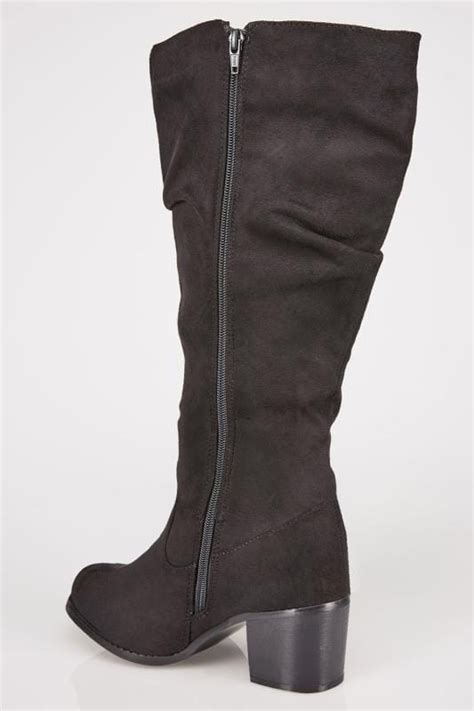Script Smart Gift Cards - black ruched knee high block heel boots with xl calf fitting in true eee fit sizes