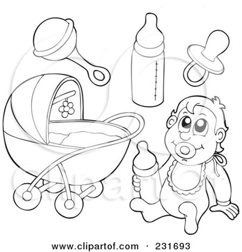 coloring pages baby items royalty free rf clipart illustration of a digital