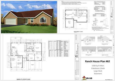 House And Cabin Plans Plan 62 1330 Sq Ft Custom Home Autocad 3d House Plans