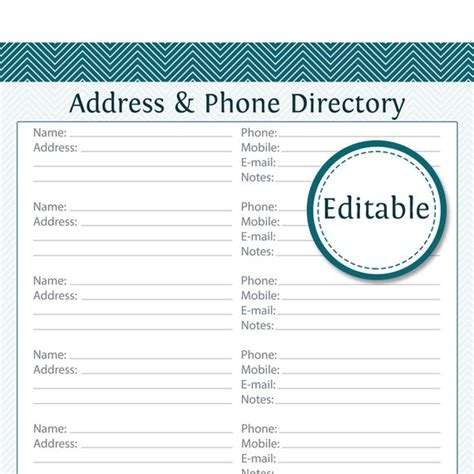 business card directory template address phone directory fillable printable pdf instant