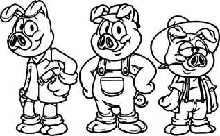 cartoon 3 pigs coloring wecoloringpage