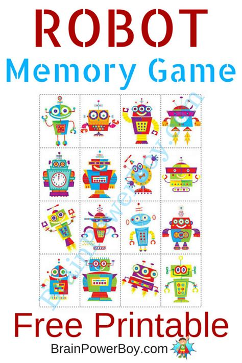 printable toddler matching games printable games for kids robot memory game free