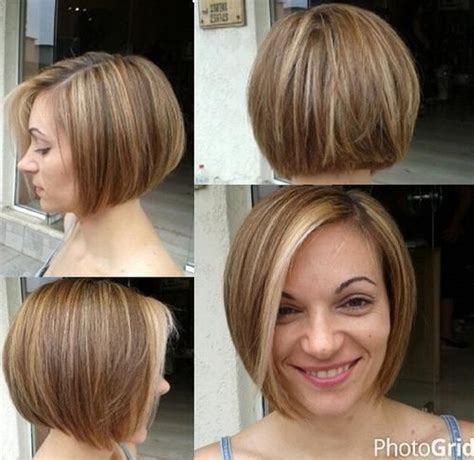 long graduated layers with a side angled or sweeping bang 40 short bob hairstyles layered stacked wavy and angled